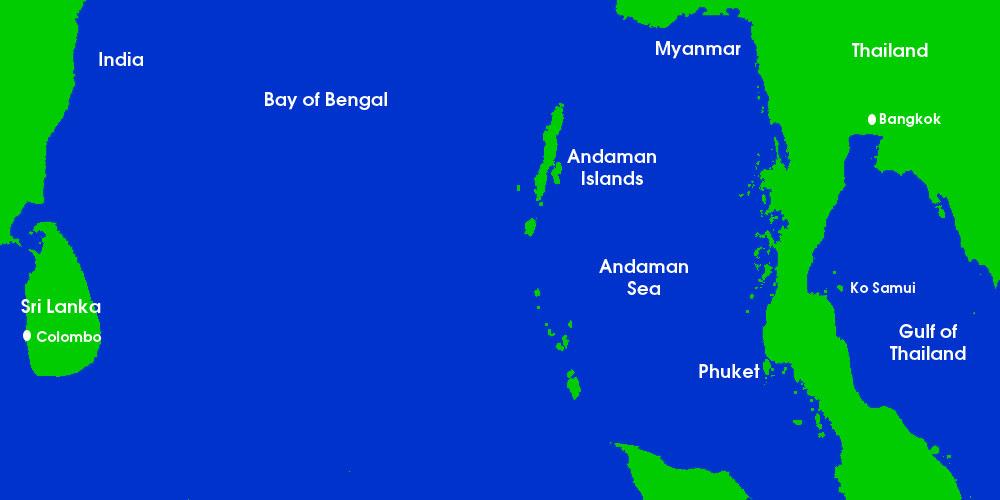 Map showing Phuket and the Andaman Islands