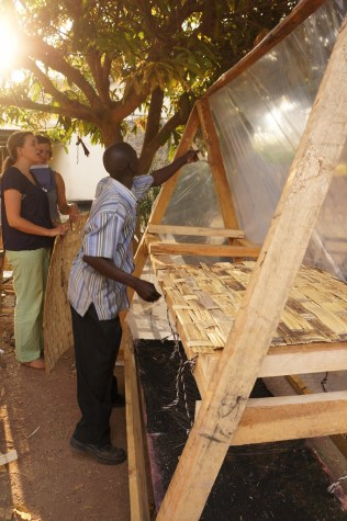 A nearly commercial-sized solar dryer created by the food preservation team