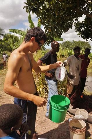 Garrett weighing the harvest