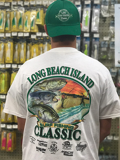 This photo shows the 2017 LBI Surf Fishing Classic Tournament Hat and T-shirt. Register now while supplies last.