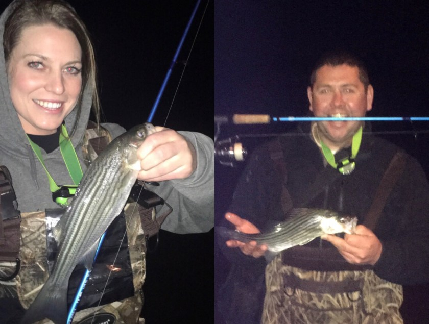 Ted Johnson and his girlfriend got into some small ones on the bayside and enjoyed an early April spring night on the bay.
