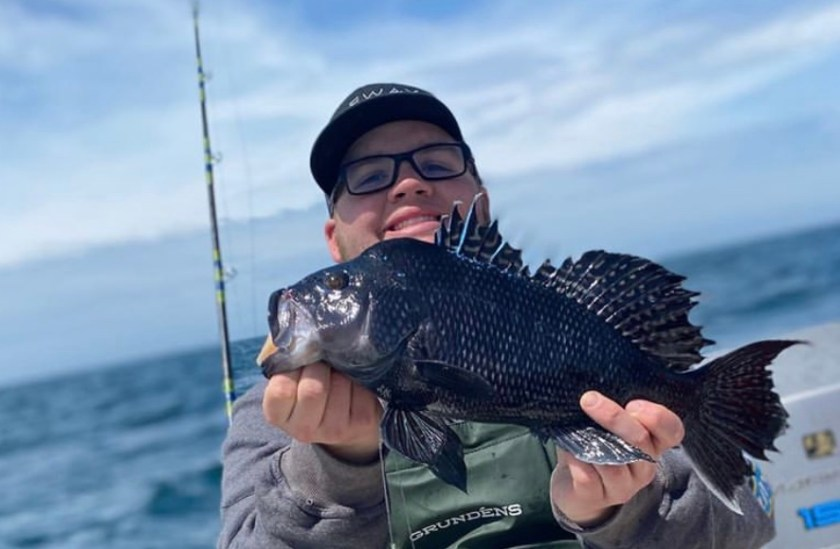 Zach Michot is having a blast catching sea bass. The season is open and the fishing is good.