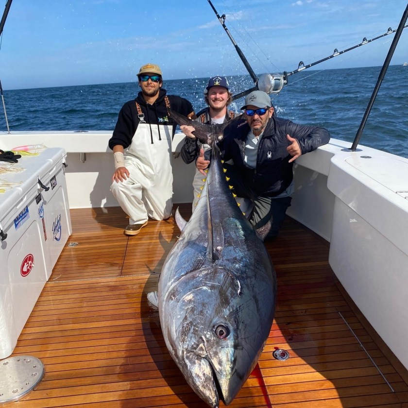 Here's Ryan, Hunter and Damien (Left to Right) with a big Jersey bluefin tune.