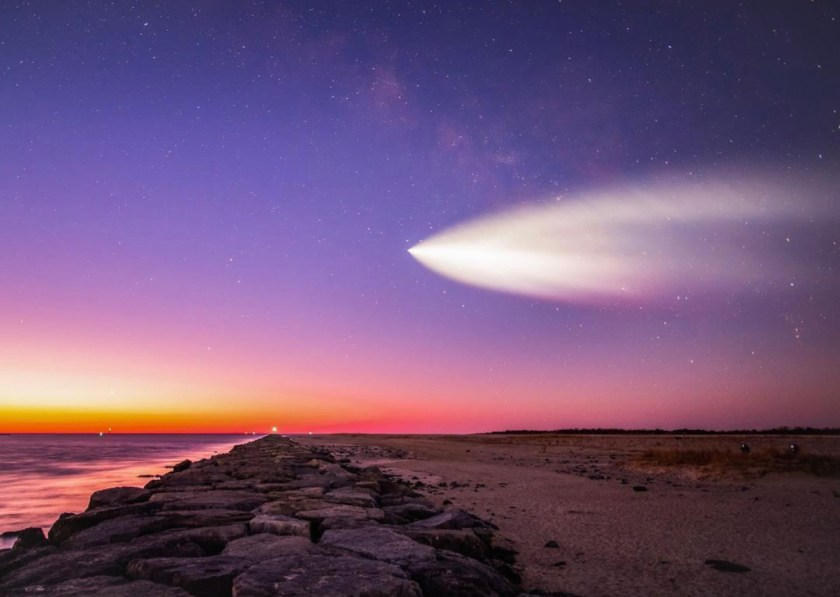 March 14th at 6:01am SpaceX launched 60 Starlink satellites from Kennedy Space Center in Florida. Photographer Jennifer Khordi was out on the Barnegat Inlet Jetty taking pictures of the Milky Way and captured this photo of the rocket crossing the Milky Way galaxy. Photo by J.Khordi