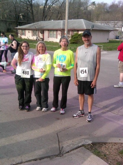 Run Club members Tammy Withrow, Debbie Lawson, Cathy Foster and Jody Pasalich at the 5K Tortoise and Hare fundraiser for the Good Samaritan Center on April 12, 2014.