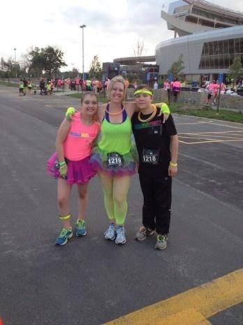 Sarah Grosko ran with her kids at the Glow Run 5K at Arrowhead Stadium.