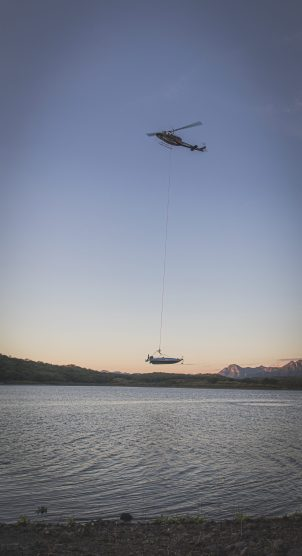 Only one of the four Vexus boats was airdropped into the lake.