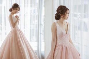 韓系線條低髻X粉色大V領口禮服 Bonnie