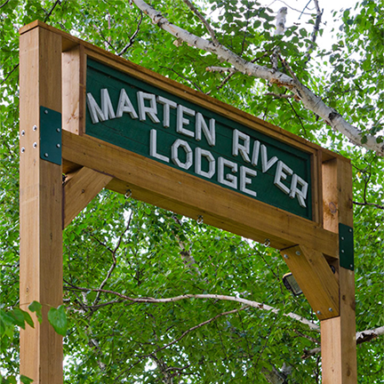 Marten River Lodge sign