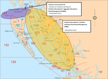 Figure 2. Northern B.C. Management Areas and locations of Canadian fisheries that intercept Southern B.C. chinook stocks of concern. Primary fishing area represented is the Northern Troll fishery and Aggregate Abundance Based Management Recreational fishery shown in purple and the Northern Individual Stock Based Management (ISBM) fisheries. ISBM rec fishery shown in yellow. Numbers indicate Pacific Fishery Management Areas.
