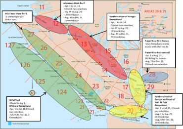 Figure 1. Southern B.C. Management Areas and locations of Canadian fisheries that intercept Southern B.C. chinook stocks of concern. Primary fishing areas represented above in blue Fraser River Terminal fishery, yellow for the Juan de Fuca Recreational fishery and Southern Strait of Georgia, and red for the Johnstone Strait and Northern Strait of Georgia Recreational fisheries and green for the West Coast Vancouver Island (WCVI) Troll fishery and nearshore and offshore recreational fisheries. Numbers indicate Pacific Fishery Management Areas.