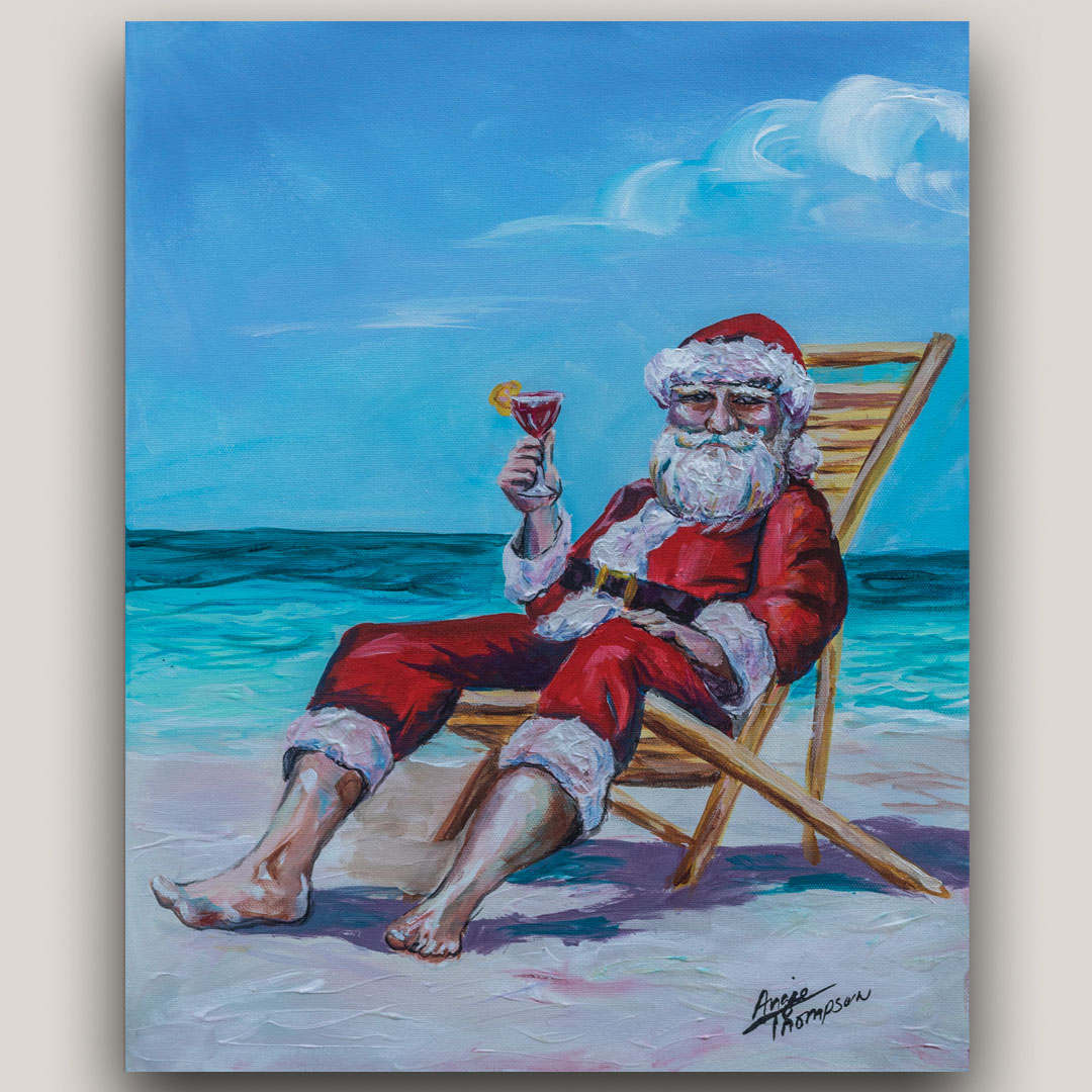 Painting of Santa Claus on the beach having a cocktail