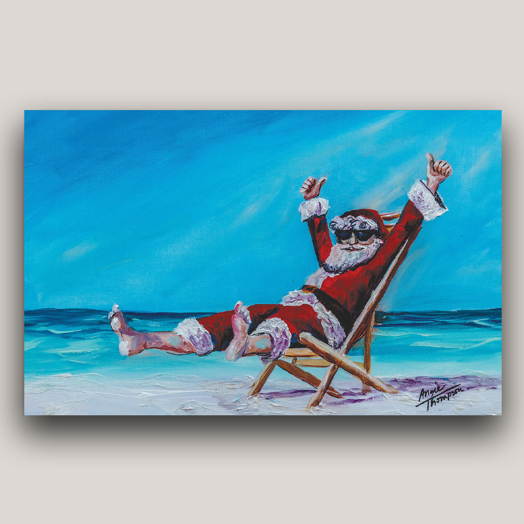 Art of Santa Claus celebrating at the beach