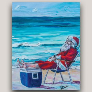 painting of Sant on the beach with his lawn chair and cooler