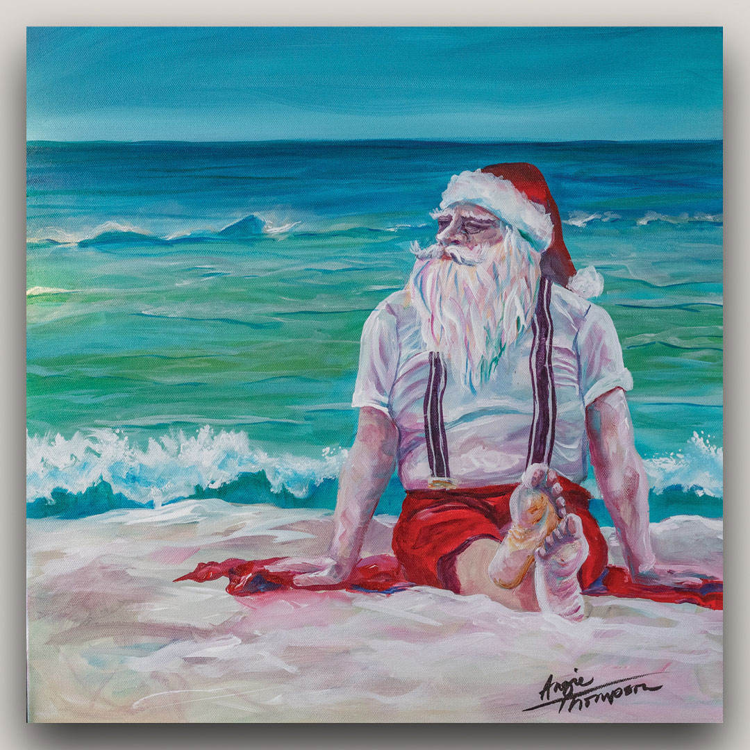 Painting on Santa Claus on the beach