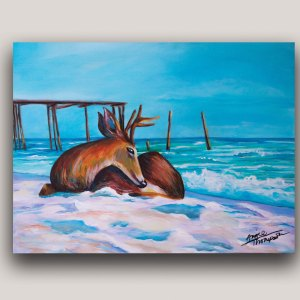 Painting of a reindeer on the beach