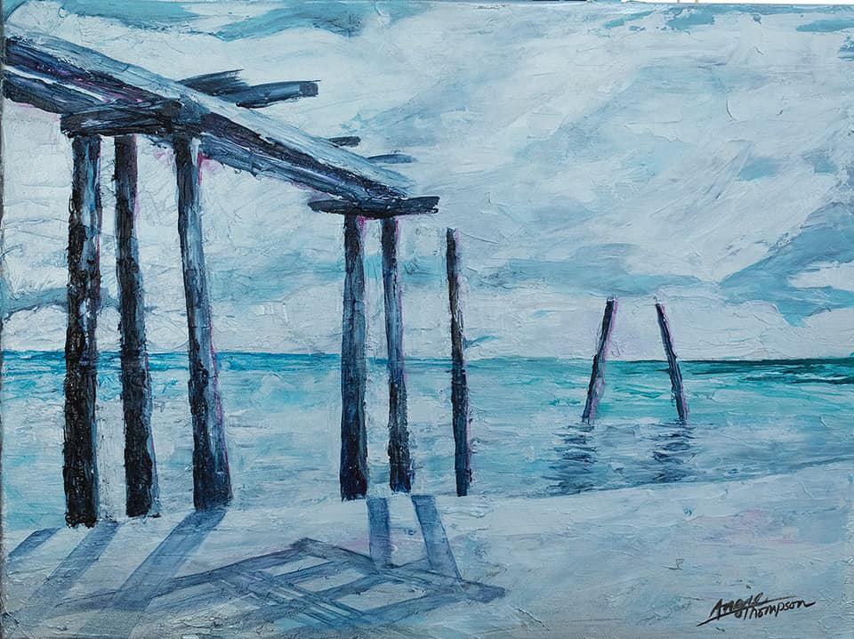 painting of the camp helen pier in florida