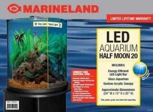 marineland glass half moon shaped aquarium m