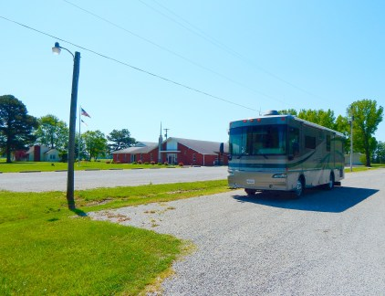 Parked in the Baptist church lot for breakfast in a small, rural town. I loved the place!