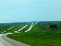 Here there are three roadways looking like ribbons.