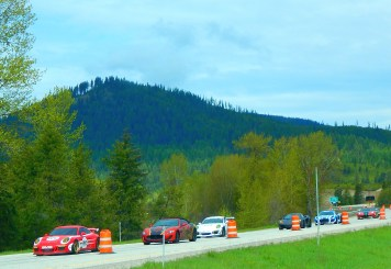 I saw dozens of exotic cars heading east on I-90. They made news this day. This is the Gold Rush Rally that left Spokane. Their antics won them a news story. Here it is: http://www.khq.com/story/35455975/exotic-cars-headed-to-spokane-for-rally-busted-for-speeding