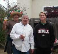 Three of the Gillespie men as Connor and I kept Dean company as he grilled the carne asada, etc.
