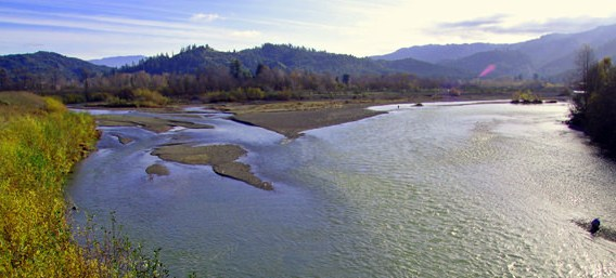 The confluence of the North Fork Mad and Mad River off the Blue Lake Bridge