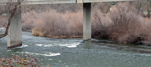 The Upper Klamath as it flows under the I-5 bridge.