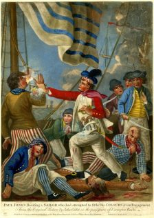 Note the flamboyant slop clothing of the sailors depicted at left and right, as well as the distinctive Kilmarnock cap worn by (Scottish) Captain John Paul Jones in, Carington Bowles, (after John Collet), 'Paul Jones shooting a sailor who had attempted to strike his colours in an engagement', 1779, British Museum, London, # 1935,0522.1.7. Available at: http://www.britishmuseum.org/research/collection_online/collection_object_details.aspx?objectId=1638085&partId=1&people=128836&peoA=128836-2-23&page=1