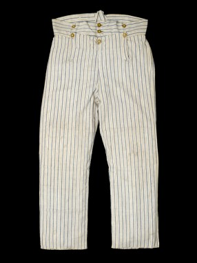 The 'fall' buttons are at the bottom three on this 'rating's trousers' in blue and white striped ticking (linen), c. 1810, National Maritime Museum, UK, #UNI0092.