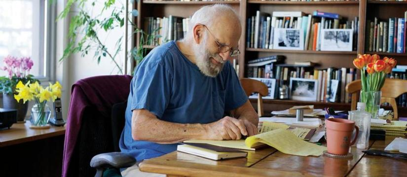 Oliver Sacks writing in his study room