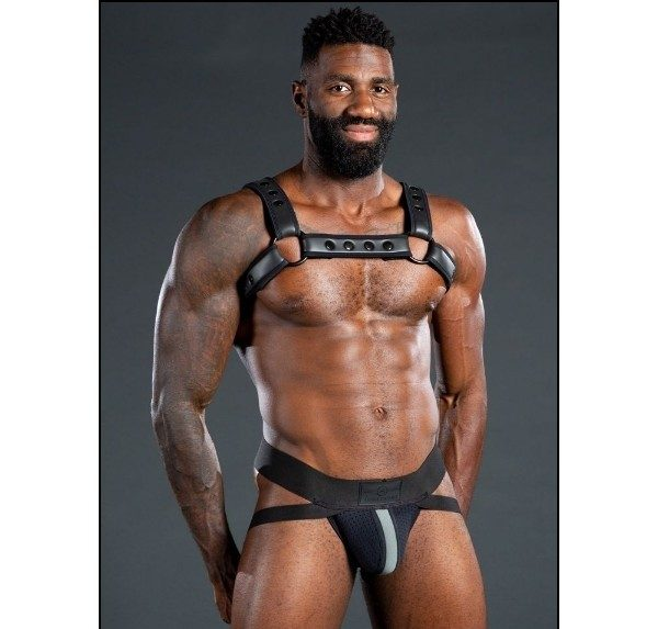 Mr S Leather NEO AIR MESH Jock | Black & Grey