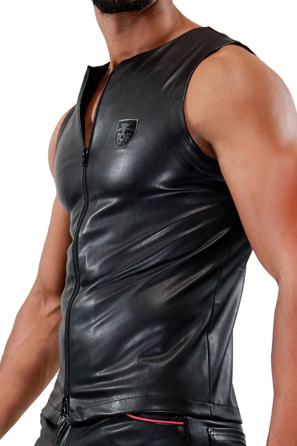 TOF Zipped Tank Top Fetish Black