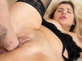 Chubby Girl Fisted in Her Pussy in Black Stockings