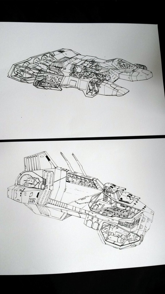 Homeworld Taiidan Destroyer and Kushan Interceptor Wireframe Sketches - James Nicholls