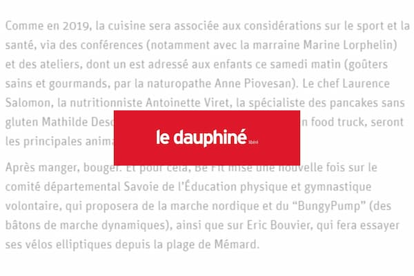 article be fit dauphine libere