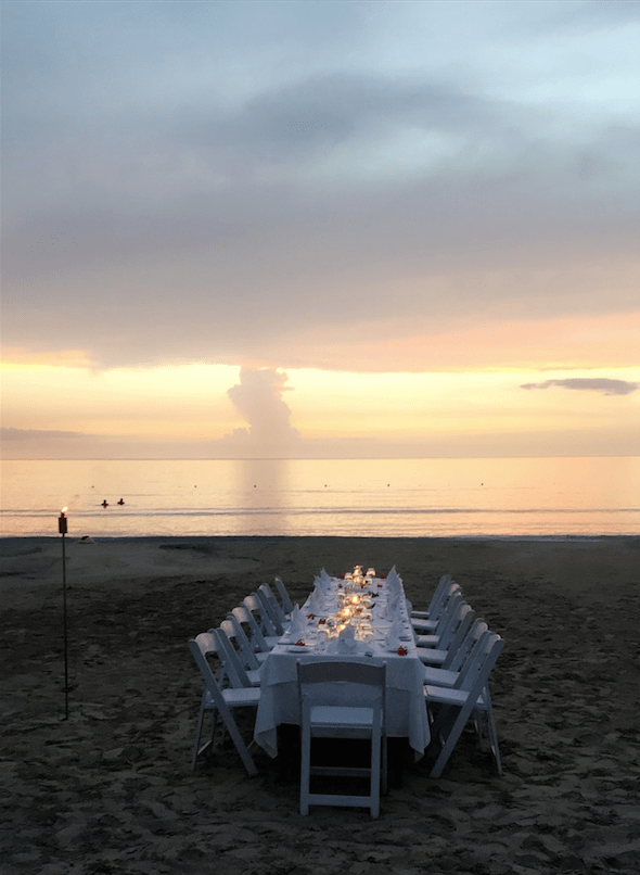 Dinner Set-up at the Beach