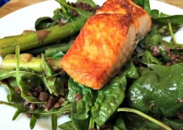 Salmon-with-puy-lentils-and-greens
