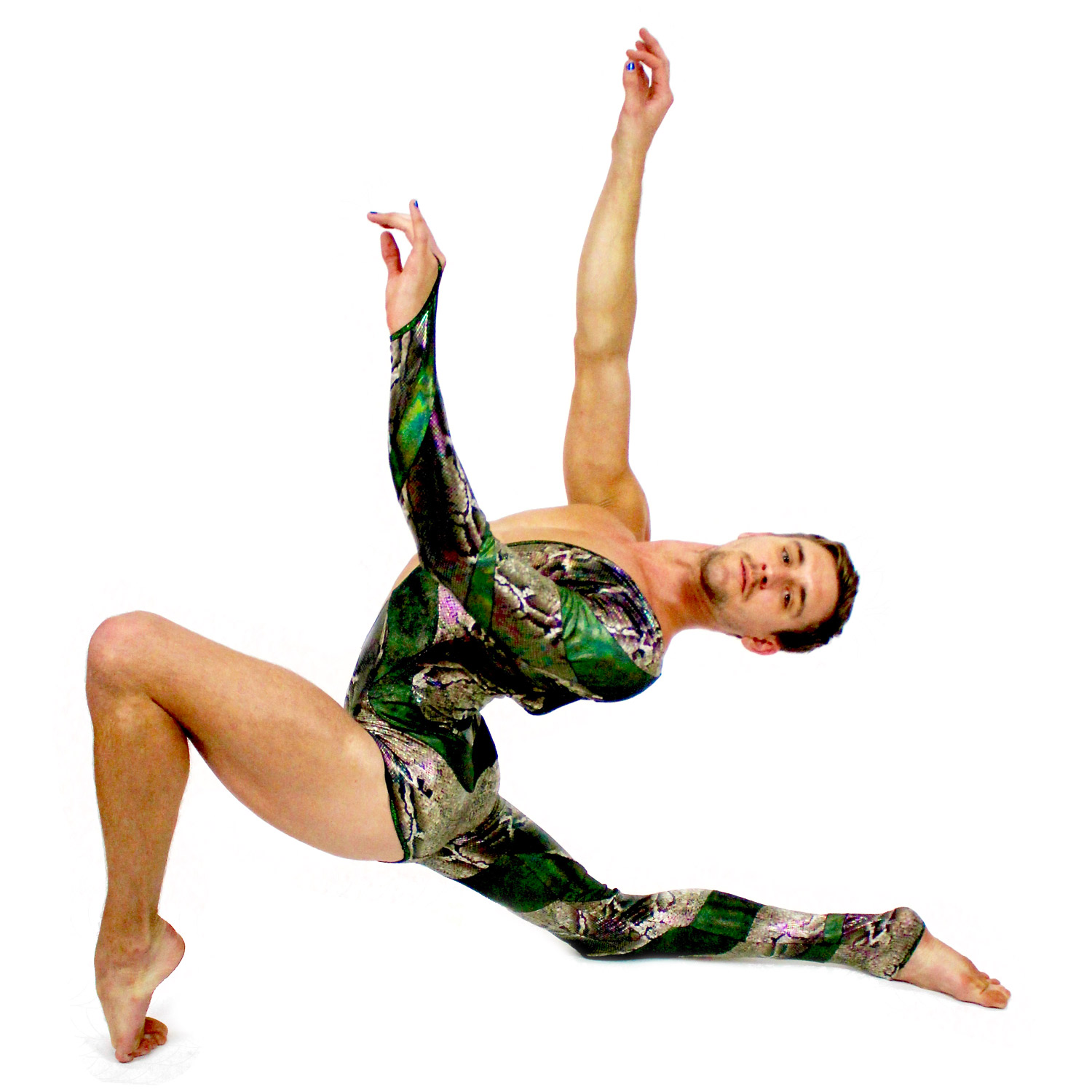 Contortion Coaching Micah Walters Man Green Leotard