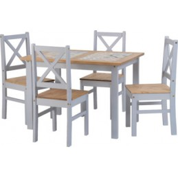 salvador painted mexican pine tile top dining table 4 chairs