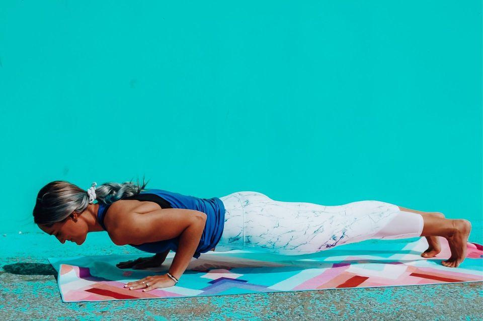 plank pose on yoga blanket