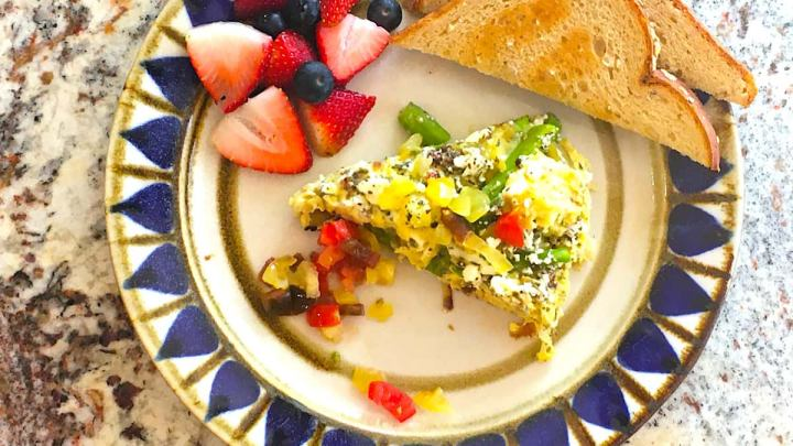Asparagus frittata plus fruit and toast is a flavorful meal