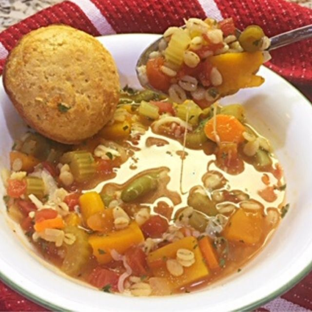 Flavorful and filling vegetable barley soup. Simple ingredients and ready in less than an hour.