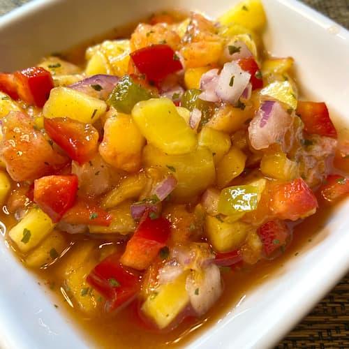 Fruit salsa adds sweetness and heat to shrimp tacos