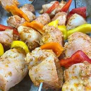 Thread chicken onto kabob skewers