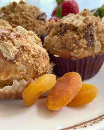 oat muffins on page with apricots