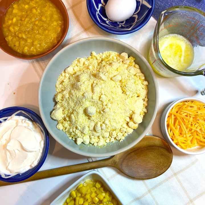 spread of measured casserole ingredients