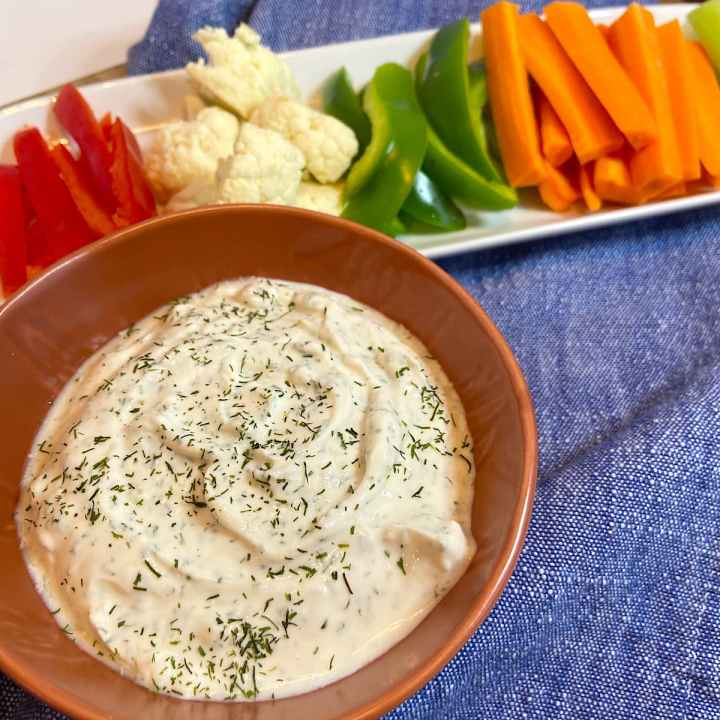 serve greek yogurt dill dip with cut vegetables
