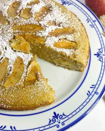 moist and tender apple cake on plate ready to serve