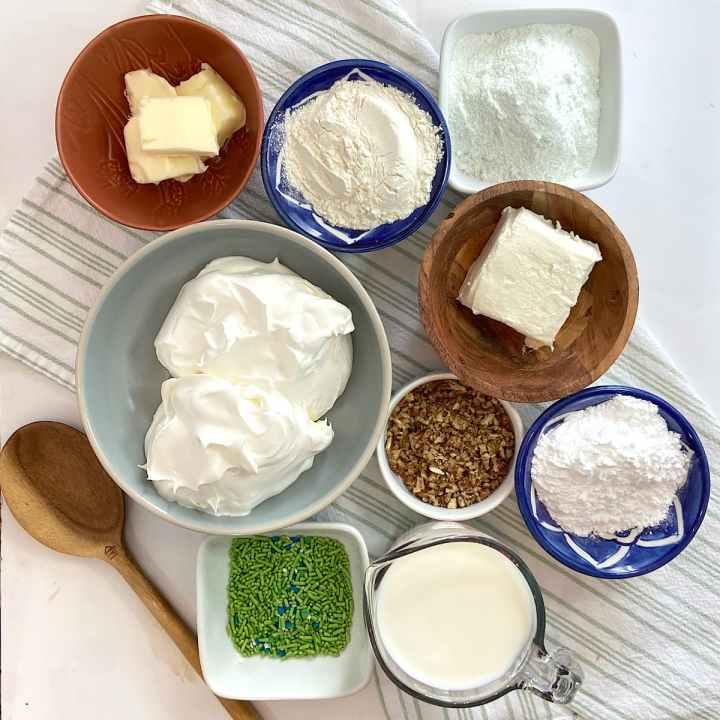 spread of measured ingredients for pistachio pudding dessert